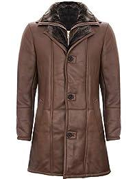 Infinity Leather Cappotto da Giacca da Uomo in Pelle di Montone Shearling in Marrone Caldo