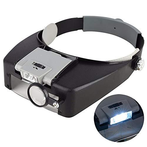 1.5X 3X 6.5X 8X Head-Mounted Magnifier Led Beleuchtete Hände Freie Kopf Lupe Visier,Reparieren Lupe Headset Für Lesen, Schmuck Lupe, Elektronische Uhr Reparatur,Gray (Uhren Wie Sie Zu Sammeln,)