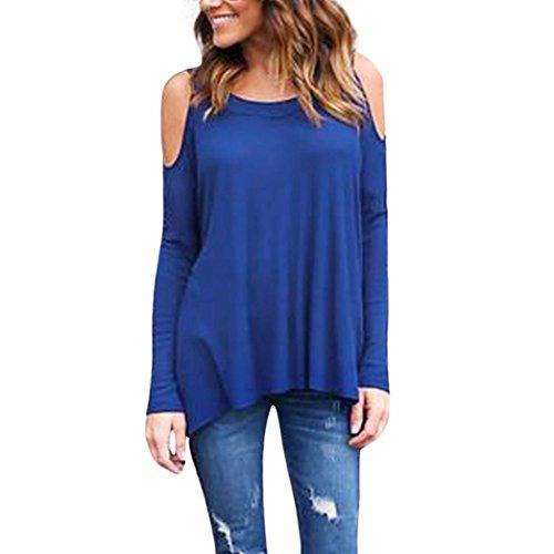 Overdose,Casual Blouse Femme T-Shirt Manches Longues Coton Tops Cold Shoulder Loose Blouse Bleu