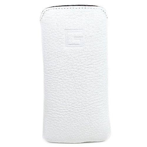 Goldberg® Apple iPhone SE 5S 5 Echt Leder Tasche Etui Hülle Case Handytasche Ledertasche Schutzhülle - EasyCase Slim Line Weiss