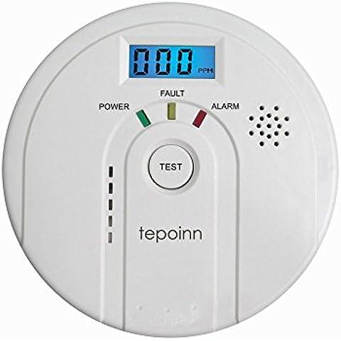 Tepoinn Detector de monóxido de carbono Alarma de CO con pantalla digital Electroquímica CO Sensor, pantalla digital, advertencia de voz y batería de copia de