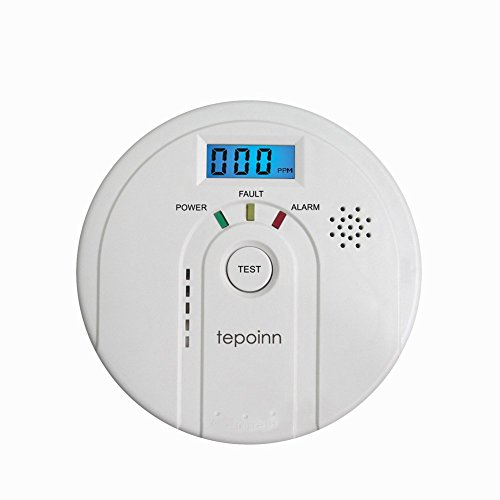 Tepoinn Carbon Monoxide Detector CO Alarm and Alarm with Digital Display Electrochemical CO Sensor,Digital Display,Voice Warning and Battery Backup