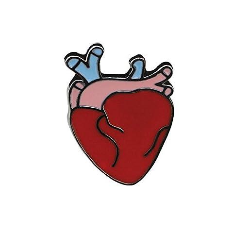 Adisaer Damen Emaille Pins Brosche Herz Broschen Rot Mädchen 1 Stück Geschenk (Diy App Kostüme)