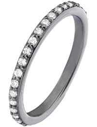 Virtue Silver Stackable VRS6001 Fine Oxidised Silver Ring with Cubic Zirconias