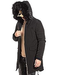 3541f62e4f3d BLZ Jeans - Parka Manteau Noir avec Capuche Fausse Fourrure Noir pour Homme