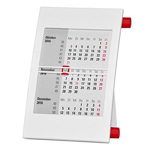 Truento 3-Monats-Tischkalender für 2 Jahre (2018 & 2019) - mit Drehmechanik - weiß/rot