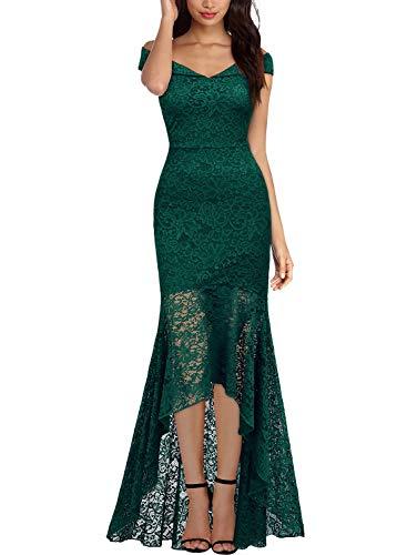 Miusol Vintage Encaje Slim Vestido de Noche Largo para Mujer Verde Medium