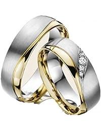 Eheringe Partnerringe Trauringe Verlobungsringe Freundschaftsringe aus Titan mit Zirkonia/Laser Gravur GRATIS