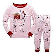 6c8e6197d1 Garsumiss Bambine Natale Set Pigiama Bambini Natale Pjs Pigiama Toddler  Santa Vestiti Unisex Inverno Abbigliamento da Notte Pink/Elk 2 2 Anni