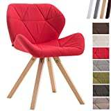 CLP Chaise De Salle A Manger Tyler Tissu I Chaise De Salle A Manger Design Scandinave I Chaise Design Pied Bois Forme Ronde Rouge, Nature
