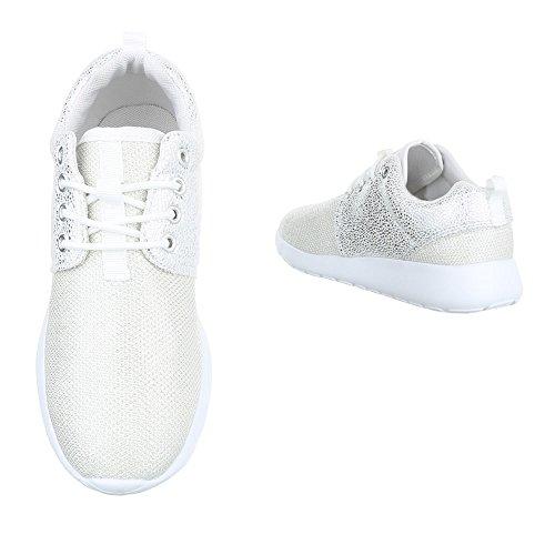 Low-Top Sneaker Damenschuhe Low-Top Sneakers Schnürsenkel Ital-Design Freizeitschuhe Weiß KK-59