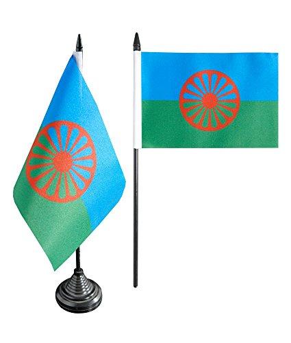 Roma-sockel (Tischflagge / Tischfahne Sinti und Roma + gratis Aufkleber, Flaggenfritze®)