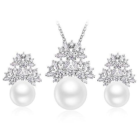 JiangXin Gros perle Jeu de bijoux nuptiale pour femmes / filles Pendentif Pendentif Pendentif Collier ,Anniversaire Valentin Action de grâces Cadeau de Noël