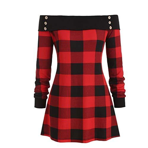 Andouy Modisch Knopf Plaid Shirt Oversized Tunika Spleißen Farbe Pullover Unregelmäßiger Saum Tops Bluse für Frauen(4XL.Rot-2)