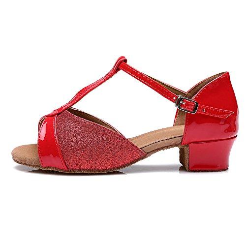 Zapatillas De Baile Para Mujer Swdzm / Salón Latino Zapatillas De Salón Satinado Modelo-it-305 Rojo
