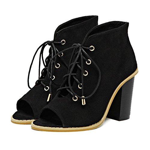 LvYuan-mxx Sandales femme / Printemps Été / daim / Sangles creux / gros orteils Poitrine bouche chaussures / Confort Casual / Bureau & Carrière Robe / Bottes cool / Talons hauts BLACK-39