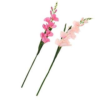 2x Gladiolo Artificial De La Flor Tropical Del Tallo Del Gladiolo Artificial Para La Decoración De La Oficina En El Hotel