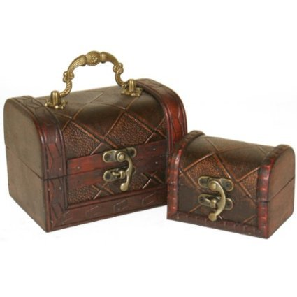 Set of 2 Decorative Rustic Wooden Colonial Style Diamond Checked Pirate Treasure Chest Trinket Boxes. 2 Graduated Boxes That Fit Inside Each Other. Great Gift Idea! by Something Different