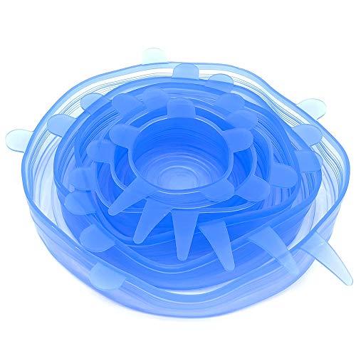 BITEYI Silikon-Deckel,Dehnbar & Flexibel Die stretchbare Alternative zu Frischhaltefolie & Alufolie,Umweltfreundlich & Wiederverwendbar,BPA frei 6 Stück (Blau)