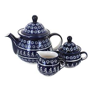 Blue Rose Polish Pottery Winter Nights Tea Set