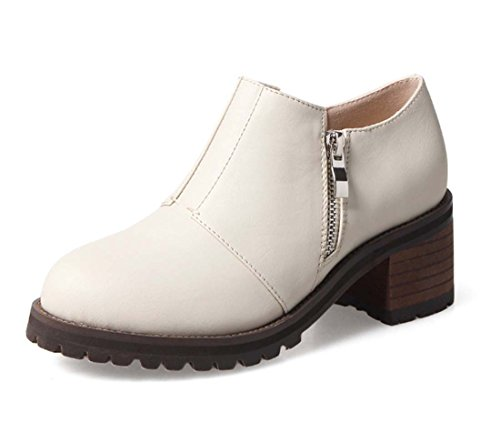 Vintage Ankle Boot Fashion Runde Zehe Low Heel Schuhe Leder Chunky Ferse Kurzen Boot Warme Ritter Boot ( Color : White , Size : 37 )