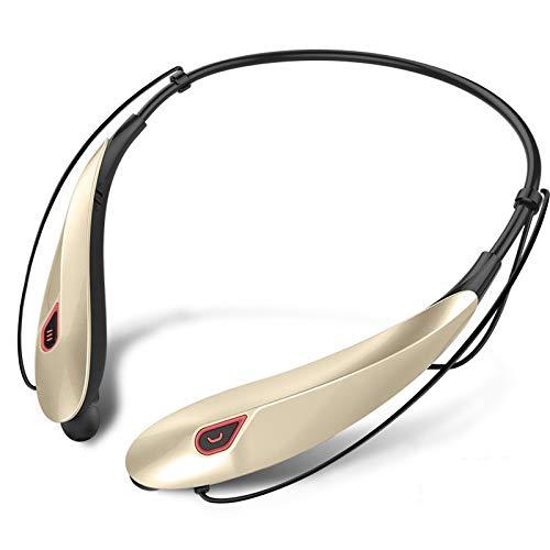 CAOQAO Casque Bluetooth Sport ÉCouteurs,Oreillette Neckband sans Fil,éCouteurs StéRéO Anti-Sueur Sport avec Micro Casque StéRéO Microphone pour Sports Course à Pied Gym,D