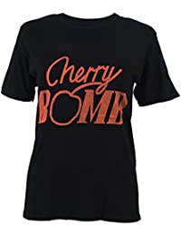 SODIAL(R) Women's CHERRY BOMB Letter Print T Shirt Summer Short Sleeve T-shirt O-neck Loose Tops Casual Tee(Black,XS/US-2)