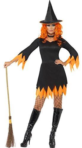 (Smiffys, Damen Hexen Kostüm, Kleid, Hut und Halsband, Größe: M, 30881)