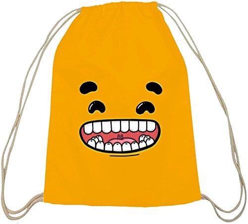 Lustiger Cartoon Emoji natur Turnbeutel mit Funny Faces - Happy Motiv gelb natur