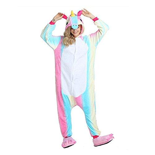 Unicsex Süß Einhorn Overall Pyjama Jumpsuit Kostüme Schlafanzug Für Kinder / Erwachsene (XL, Rainbow Einhorn)