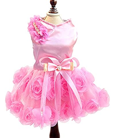 SMALLLEE_LUCKY_STORE Pet Small Dog Puppy Cat Clothes Coat Wedding Costume Satin Rose Formal Dress Tutu Pink XL by smalllee_lucky_store