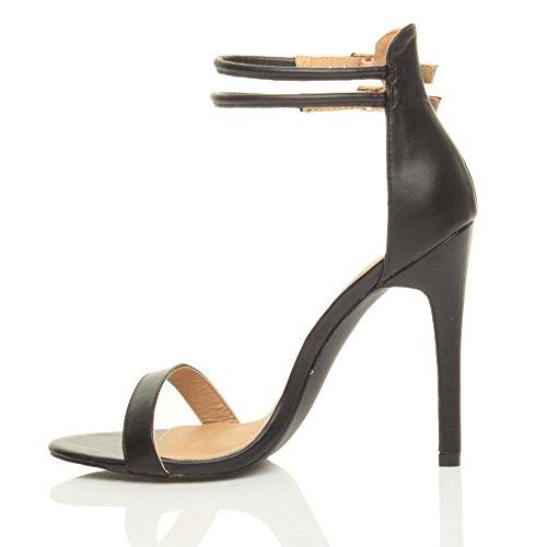 Damen Hohen Absatz Kaum Dort Fesselriemen Schnalle Stilettos High Heels Sandalen Schuhe Größe Schwarz Matt