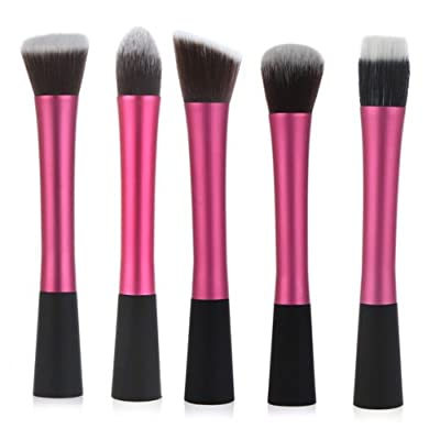 LyDia UK STOCK Professional 5pcs Hot Red Pink flat top foundation/angled blusher/face powder/stippling/face contour makeup brush set