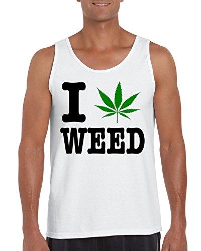 TRVPPY Herren Tank-Top Shirt Modell I LOVE WEED, Weiß, M