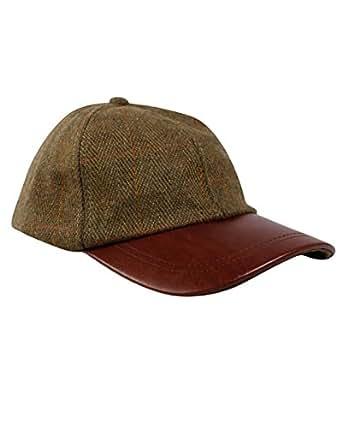 DERBY TWEED BASEBALL CAP WITH GENUINE LEATHER PEAK (ONE SIZE)
