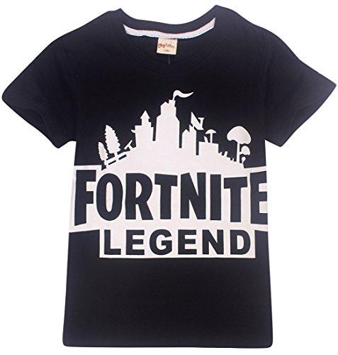 EMILYLE Unisex Fortnite Logo Game Icons Letras del Equipo Combat Commander Camiseta Impresa Fortnite PVP Pullover T-Shirt for Niño (8-9 Año) 130cm,Equipo Niñas Gris
