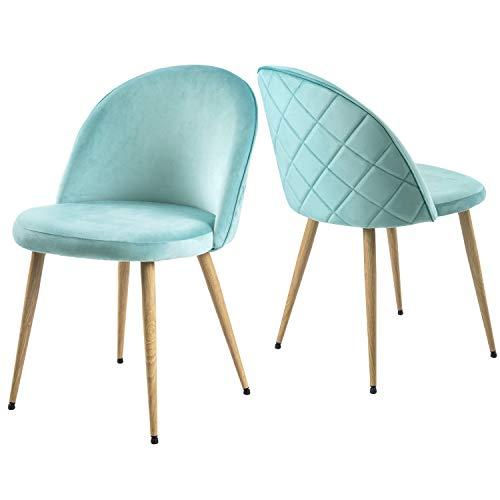 Modern Luxe  ® Esszimmerstuhl Wohnzimmerstuhl SAMT Stoff Polsterstuhl Loungesessel Weicher Sitz und Rücken, mit Holzernen Metallbeinen, 2er Set,Farbauswahl (Blau)