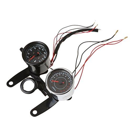 MagiDeal 12V Dual Wegmesser Kilometerzähler Geschwindigkeitsmesser + Tachometer Set Gauge Motorrad mit Hintergrundbeleuchtung für Yamaha