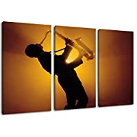 Saxophone, canvas image size: three-piece overall 120x80, covered painting on canvas, huge XXL images completely finished and framed with stretcher, Art print on wall picture with frame, cheaper than painting or picture, not a poster or banner