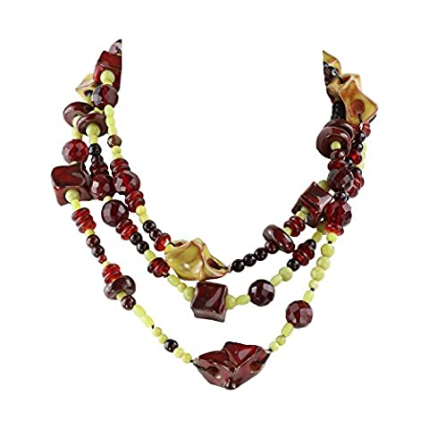 ILSE VAN DER MERSCH Stunning Jewellery Set 3-Layered long Necklace and assorted Bracelet. Handmade in Switzerland. Jade, Garnet and Ceramic Natural Gemstones. Violet, Purple, Cherry Red, Green. Copper Clasp. A unique gift for a unique woman.