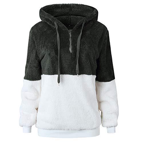 MYSHOW Damen Teddyfleece Kontrastfarbe Kapuzenpullover Locker Oversize Fleece Farbblock Sweatshirt Pullover Hoodie Armee Grün L Fleece-armee Pullover