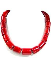 Halskette aus Bambuskoralle in Zylinderform L-48 cm