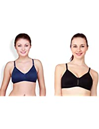 66e75038ee0 Floret Katrina Women s T-Shirt Non Padded Bra Black and Navy Blue (Pack of
