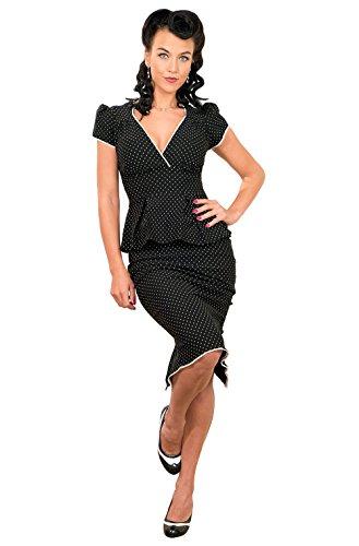 50 er / 40er Pencil Schößchen Polka Dots Pin Up RETRO Rockabilly Etuikleid Kleid