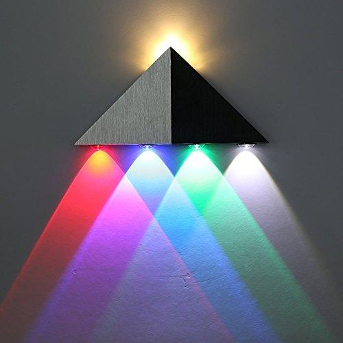 Amzdeal 5W LED Dreieck Wandleuchte 5leds(rot, blau, grün, weiß, warmweiß)