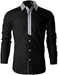 FLATSEVEN Camisas Slim Fit Casual Elegantes Hombre