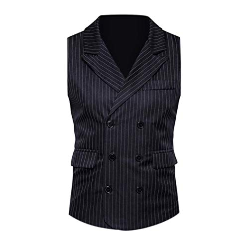 118110acb14b BHYDRY Men Formal Tweed Check Double Breasted Waistcoat Retro Slim Fit Suit  Striped Jacket Cotton Outwear