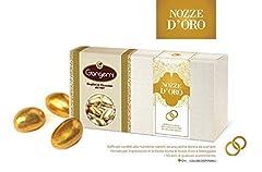 Idea Regalo - Gangemi NOZZE D'ORO - Raffinati Confetti con interno di Mandorla Rivestiti da una Patina Dorata - 1kg