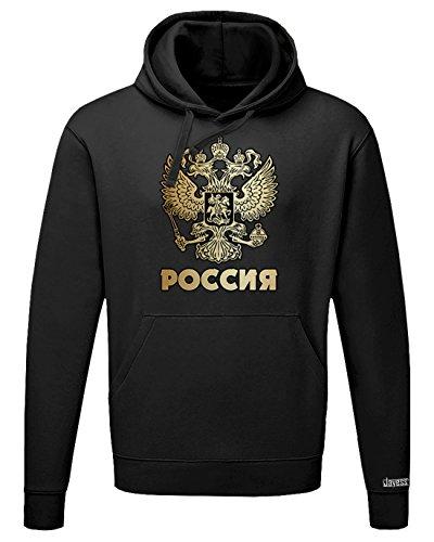 Jayess POCCNR - Russland Russia - Herren UND Damen - Hoodie by Schwarz by Gr. M