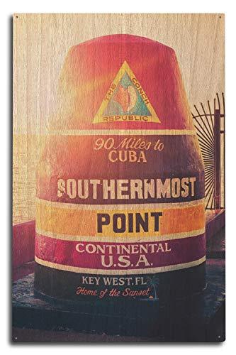 Lantern Press Key West, Floride - 144,8 km vers Cuba Sign 10 x 15 Wood Sign Multicolore